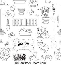 modèle, ensemble, jardin