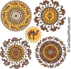 modèle, ensemble, ornement, rond, chameaux