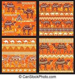 modèle, ensemble, seamless, chameaux