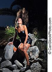 modèle, exotique, jeune, environnement, sexy