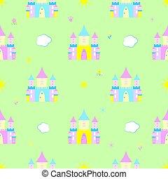 modèle, fée-conte, seamless, enfants, château