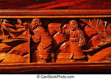 modèle, fait main, bois, carvings.