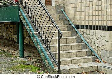 modèle, fer, escalier, noir, rampes, forgé