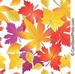 modèle, feuilles, arbre, jaune, orange, automne, érable, rouges