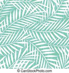 modèle, feuilles, arbre, seamless, exotique, vert, paume, blanc