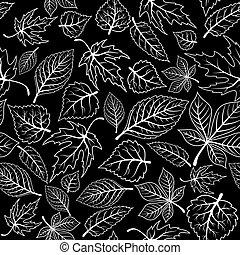 modèle, feuilles, arbre, seamless