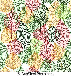modèle, feuilles, automnal, seamless