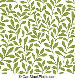 modèle, feuilles, brindilles, vert, seamless