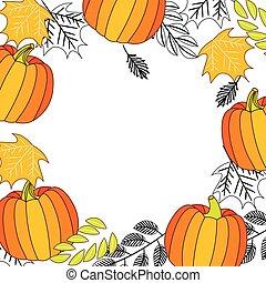 modèle, feuilles, cadre, feuillage, citrouille