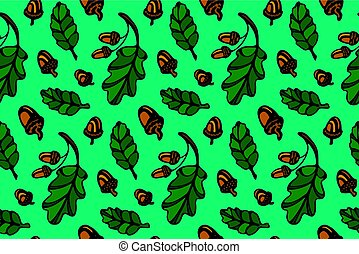 modèle, feuilles, chêne, glands