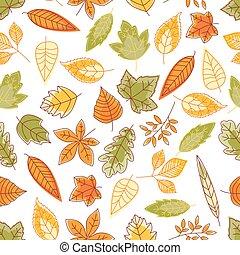 modèle, feuilles chute, fond, seamless