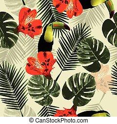 modèle, feuilles, perroquet, seamless, exotique, toucan, paume, fleurs