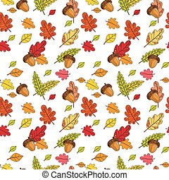 modèle, feuilles, saison, fond, coloré, seamless, automne, automne, ornement