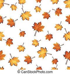 modèle, feuilles, seamless, automne, fond, érable