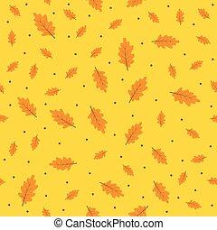 modèle, feuilles, seamless, automne, fond, orange