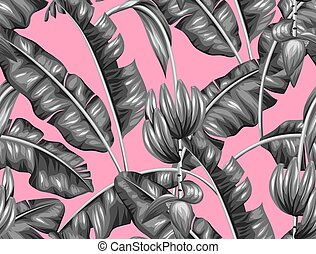 modèle, feuilles, seamless, banane