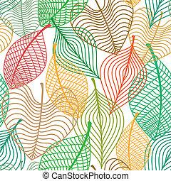 modèle, feuilles, seamless, coloré