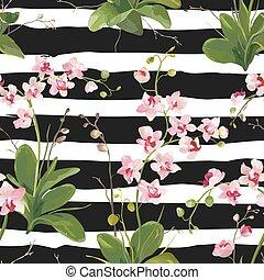 modèle, feuilles, seamless, exotique, arrière-plan., vecteur, fleurs, orchidée