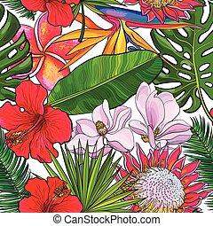 modèle, feuilles, seamless, exotique, fond, fleurs blanches
