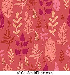 modèle, feuilles, seamless, fond, rouges