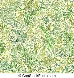 modèle, feuilles, seamless, fougère, arrière-plan vert