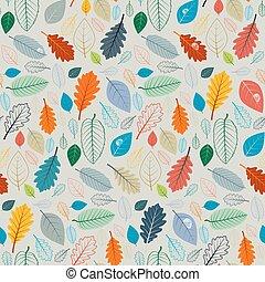 modèle, feuilles, -, seamless, illustration, automne, vecteur