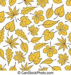 modèle, feuilles, seamless, jaune, automne, baissé