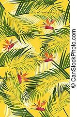 modèle, feuilles, seamless, jaune, paume, fond, paradis, oiseau