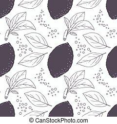 modèle, feuilles, seamless, main, stylisé, citron, dessiné, bulles