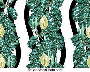 modèle, feuilles, seamless, monstera