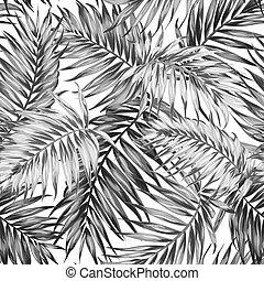 modèle, feuilles, seamless, noir, jungle, tropique, blanc