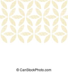 modèle, feuilles, seamless, textile, arrière-plan beige, horizontal, résumé