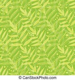 modèle, feuilles, seamless, vecteur, arrière-plan vert