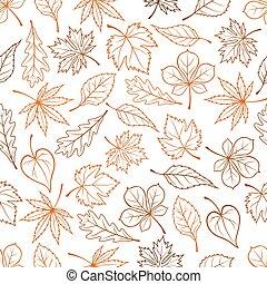 modèle, feuilles, vecteur, seamless, fond