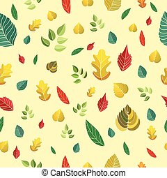 modèle, feuilles, vecteur, seamless, illustration