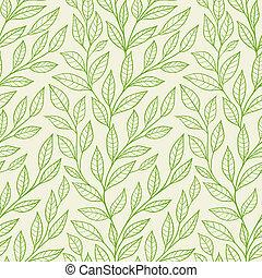 modèle, feuilles, vert, seamless