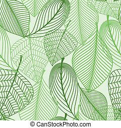 modèle, feuilles, vert, seamless, fond