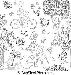 modèle, filles, seamless, vélos, joli, équitation, butte