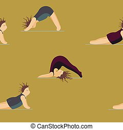 modèle, filles, yoga., pose, femme, yoga, seamless