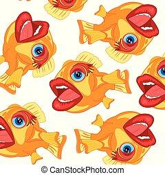 modèle, fish, dessin animé