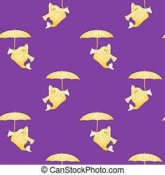 modèle, fish, parapluie, seamless