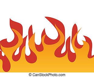 modèle, flamme, rouges, brûlé
