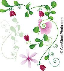 modèle, fleur, éléments