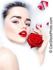 modèle, fleur, délassant, beauté, rose, maquillage, jeune, bain, clair, girl, lait, rouges