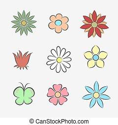 modèle, fleur, icônes