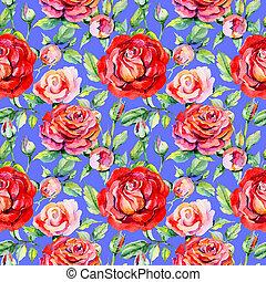 modèle fleur, rosa, aquarelle, wildflower, style.