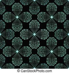 modèle fleur, seamless, forme., cristal, vecteur, répéter, géométrique
