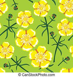 modèle, fleur, seamless, jaune
