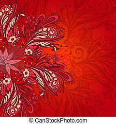modèle, fleur, seamless, rouges