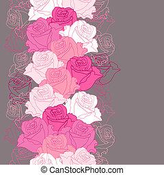 modèle, fleurs, roses., seamless